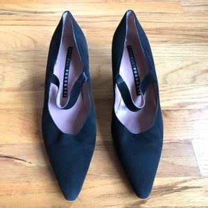 FRATELLI ROSSETTI Black Suede Pumps Pointed Toe 8